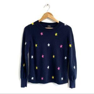 Jcrew Cashmere Star print sweater navy blue long sleeve Crewneck pullover jumper